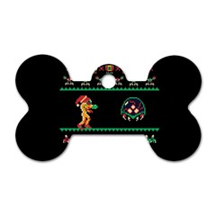 We Wish You A Metroid Christmas Ugly Holiday Christmas Black Background Dog Tag Bone (one Side)
