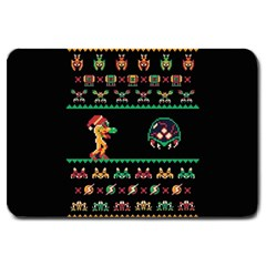 We Wish You A Metroid Christmas Ugly Holiday Christmas Black Background Large Doormat