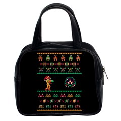 We Wish You A Metroid Christmas Ugly Holiday Christmas Black Background Classic Handbags (2 Sides)