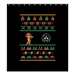 We Wish You A Metroid Christmas Ugly Holiday Christmas Black Background Shower Curtain 66  x 72  (Large)