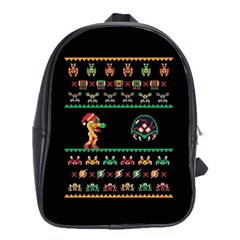 We Wish You A Metroid Christmas Ugly Holiday Christmas Black Background School Bags(large)