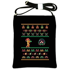 We Wish You A Metroid Christmas Ugly Holiday Christmas Black Background Shoulder Sling Bags