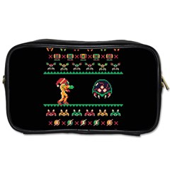 We Wish You A Metroid Christmas Ugly Holiday Christmas Black Background Toiletries Bags 2-Side