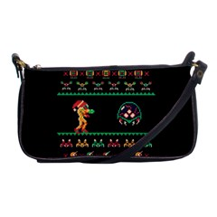 We Wish You A Metroid Christmas Ugly Holiday Christmas Black Background Shoulder Clutch Bags