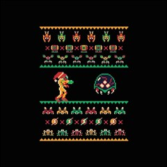 We Wish You A Metroid Christmas Ugly Holiday Christmas Black Background Magic Photo Cubes