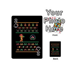 We Wish You A Metroid Christmas Ugly Holiday Christmas Black Background Playing Cards 54 (mini)