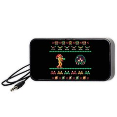We Wish You A Metroid Christmas Ugly Holiday Christmas Black Background Portable Speaker (Black)