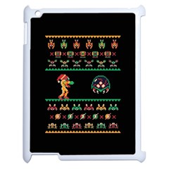 We Wish You A Metroid Christmas Ugly Holiday Christmas Black Background Apple Ipad 2 Case (white)
