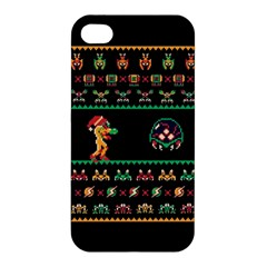 We Wish You A Metroid Christmas Ugly Holiday Christmas Black Background Apple iPhone 4/4S Hardshell Case