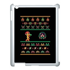 We Wish You A Metroid Christmas Ugly Holiday Christmas Black Background Apple iPad 3/4 Case (White)