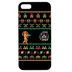 We Wish You A Metroid Christmas Ugly Holiday Christmas Black Background Apple Iphone 5 Hardshell Case With Stand