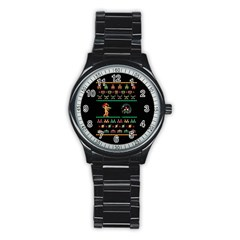 We Wish You A Metroid Christmas Ugly Holiday Christmas Black Background Stainless Steel Round Watch