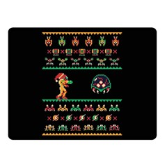 We Wish You A Metroid Christmas Ugly Holiday Christmas Black Background Double Sided Fleece Blanket (Small)