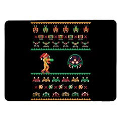 We Wish You A Metroid Christmas Ugly Holiday Christmas Black Background Samsung Galaxy Tab Pro 12.2  Flip Case