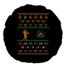 We Wish You A Metroid Christmas Ugly Holiday Christmas Black Background Large 18  Premium Flano Round Cushions