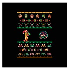 We Wish You A Metroid Christmas Ugly Holiday Christmas Black Background Large Satin Scarf (Square)