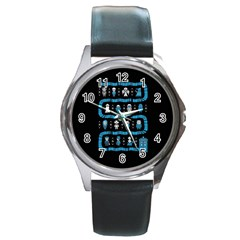Who Is Outside Ugly Holiday Christmas Black Background Round Metal Watch