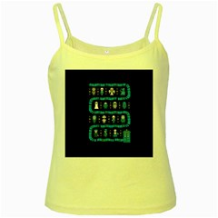 Who Is Outside Ugly Holiday Christmas Black Background Yellow Spaghetti Tank