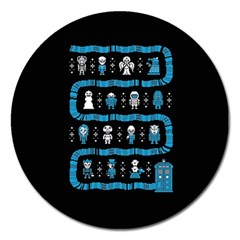 Who Is Outside Ugly Holiday Christmas Black Background Magnet 5  (round)