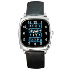 Who Is Outside Ugly Holiday Christmas Black Background Square Metal Watch