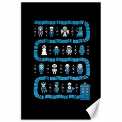 Who Is Outside Ugly Holiday Christmas Black Background Canvas 20  X 30