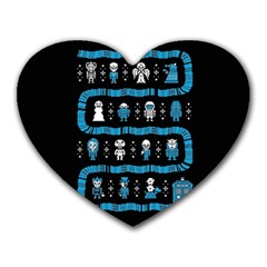 Who Is Outside Ugly Holiday Christmas Black Background Heart Mousepads