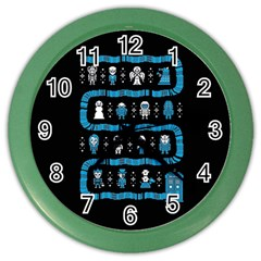 Who Is Outside Ugly Holiday Christmas Black Background Color Wall Clocks