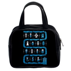 Who Is Outside Ugly Holiday Christmas Black Background Classic Handbags (2 Sides)