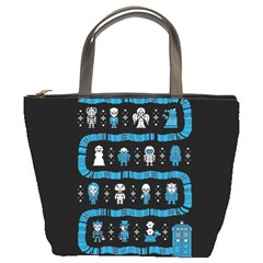 Who Is Outside Ugly Holiday Christmas Black Background Bucket Bags