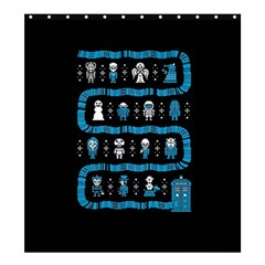 Who Is Outside Ugly Holiday Christmas Black Background Shower Curtain 66  X 72  (large)