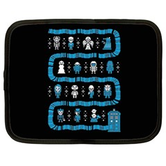 Who Is Outside Ugly Holiday Christmas Black Background Netbook Case (xl)