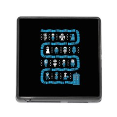 Who Is Outside Ugly Holiday Christmas Black Background Memory Card Reader (square)