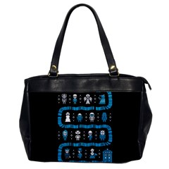 Who Is Outside Ugly Holiday Christmas Black Background Office Handbags