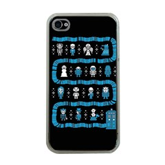 Who Is Outside Ugly Holiday Christmas Black Background Apple Iphone 4 Case (clear)