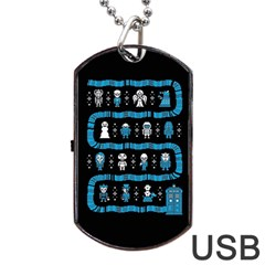 Who Is Outside Ugly Holiday Christmas Black Background Dog Tag USB Flash (Two Sides)