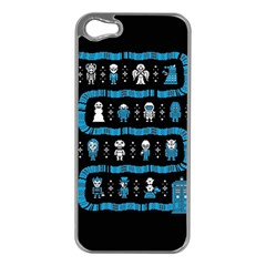 Who Is Outside Ugly Holiday Christmas Black Background Apple Iphone 5 Case (silver)