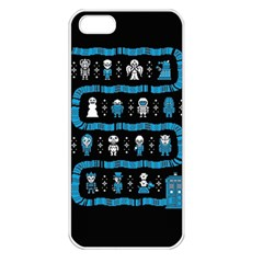 Who Is Outside Ugly Holiday Christmas Black Background Apple Iphone 5 Seamless Case (white)