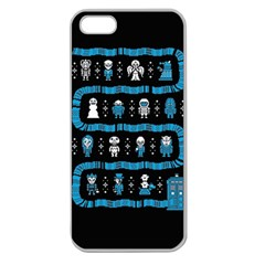 Who Is Outside Ugly Holiday Christmas Black Background Apple Seamless iPhone 5 Case (Clear)