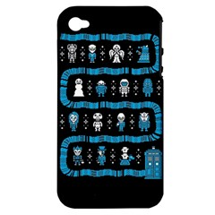 Who Is Outside Ugly Holiday Christmas Black Background Apple Iphone 4/4s Hardshell Case (pc+silicone)