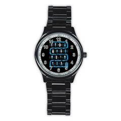 Who Is Outside Ugly Holiday Christmas Black Background Stainless Steel Round Watch