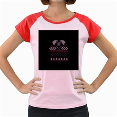 Winter Is Coming Game Of Thrones Ugly Christmas Black Background Women s Cap Sleeve T Shirt