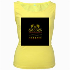 Winter Is Coming Game Of Thrones Ugly Christmas Black Background Women s Yellow Tank Top