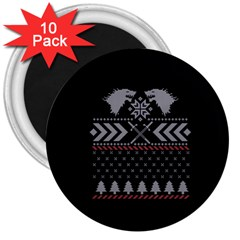 Winter Is Coming Game Of Thrones Ugly Christmas Black Background 3  Magnets (10 pack)
