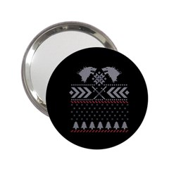 Winter Is Coming Game Of Thrones Ugly Christmas Black Background 2.25  Handbag Mirrors