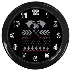 Winter Is Coming Game Of Thrones Ugly Christmas Black Background Wall Clocks (black)