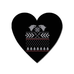 Winter Is Coming Game Of Thrones Ugly Christmas Black Background Heart Magnet
