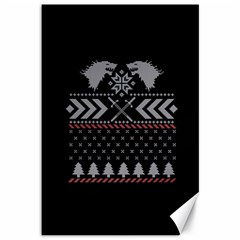 Winter Is Coming Game Of Thrones Ugly Christmas Black Background Canvas 12  x 18