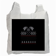Winter Is Coming Game Of Thrones Ugly Christmas Black Background Recycle Bag (one Side)