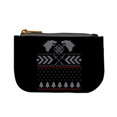 Winter Is Coming Game Of Thrones Ugly Christmas Black Background Mini Coin Purses