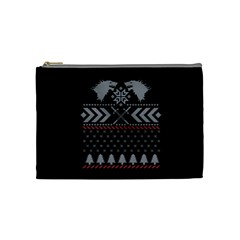 Winter Is Coming Game Of Thrones Ugly Christmas Black Background Cosmetic Bag (Medium)